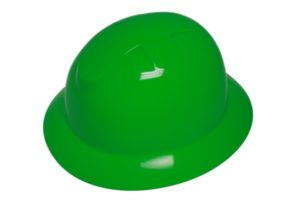 DURASHELL FULL BRIM 6 POINT PINLOCK SUSPENSION HI-VIZ GREEN HARD HAT