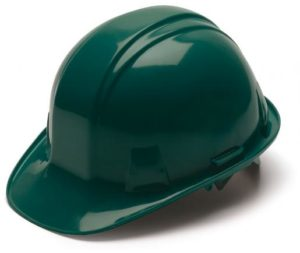 Green Hard Hat with 6 Point Pinlock Suspension